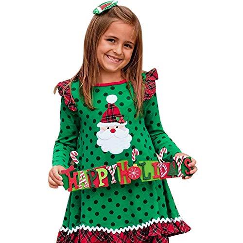 Beikoard Weihnachten Kleidung Weihnachten Langarm Comic Print Kleider Drucken Punktkleid Weihnachten Rüschen Kleider Taufbekleidung
