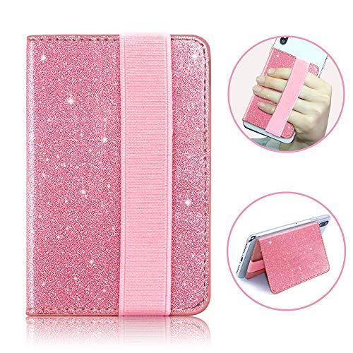 FAN SONG Kreditkarte Brieftasche Halter RFID PU Glitter Leder Selbstklebende Handy Schlank Kartenfächer mit starken 3M Sticky Universal für Smartphones(Pink) - Speck Brieftasche Handy