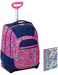 8227400f8a Trolley Bambina Seven + Cartellina A4 - Rosa Blu - Spallacci a Scomparsa!  Zaino 35 LT Scuola e Viaggio - Idea…