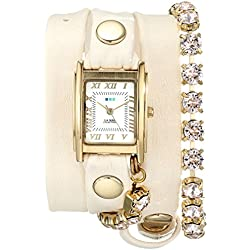 La Mer Collections - Silk Chandelier Crystal Chain Leather Wrap Armbanduhr
