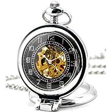 Infinite U Ángulo Recto Lupa Colgante Collar Esqueleto Hueco Reloj de Bolsillo Mecánico