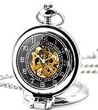 Infinite U Ángulo Recto Lupa Colgante Collar Esqueleto Hueco Reloj de Bolsillo Mecánico -Color Plateado