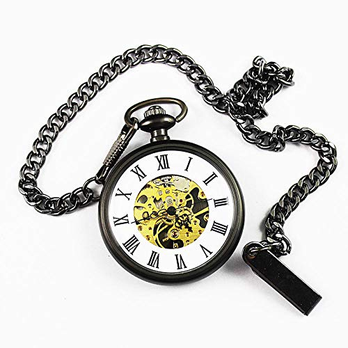 Vintage Taschenuhr Ohne Deckel Classic Fashion Gift Souvenir Pocket Watch Black ()