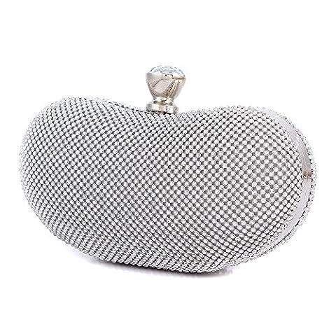 Ladies / Women's Designer Vintage Seed Beaded Rose Wedding Bag Parties Clutches Prom Evening Handbags , Silver