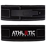 ATHLETIC AESTHETICS 10 mm KDK-Gürtel/Powerlifting Gürtel [mit Lever] fürs Krafttraining, Powerlifting und Gewichtheben - Ideal für Kniebeugen und Kreuzheben schwarz