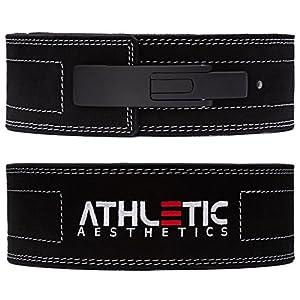 ATHLETIC AESTHETICS 10 mm KDK-Gürtel/Powerlifting Gürtel [mit Lever] fürs Krafttraining, Powerlifting und Gewichtheben – Ideal für Kniebeugen und Kreuzheben schwarz