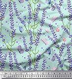 Soimoi Grun Baumwolle Batist Stoff Schmetterling & Lavendel