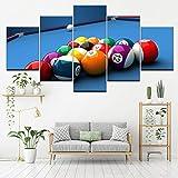 EXQART Modulare Leinwand Gemälde Arbeiten Wandkunst 5 Stücke Farbe Billard Bilder Dekoration Home Wohnzimmer Moderne Druck Poster 40x60cmx2 40x80cmx2 40x100cm