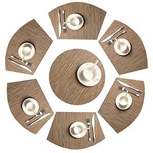 SHACOS Tischsets Waschbar Keilförmige Platzsets 7er Set,PVC Platzsets Abwaschbar Hitzebeständig Schmutzabweisend,perfekt für runde Tische,Küche,Urlaub,Party usw.(Bambus Tan)