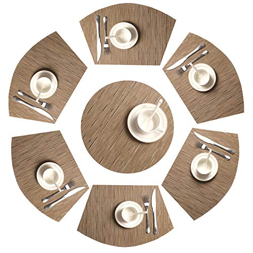 Tan Bambus (SHACOS Tischsets Waschbar Keilförmige Platzsets 7er Set,PVC Platzsets Abwaschbar Hitzebeständig Schmutzabweisend,perfekt für runde Tische,Küche,Urlaub,Party usw.(Bambus Tan))