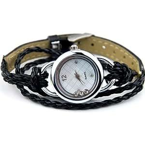 Uhr Armbanduhr Armband Armreif Glücksbringer Strass Damenuhr Schwarz