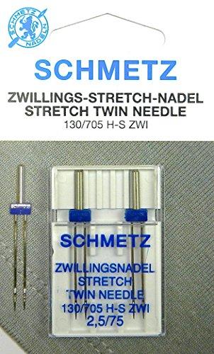 2 Stück Schmetz Stretch Zillingsnadel Twin Nadel 2,5/75 System 130/705 - Nähmaschine Für Lycra