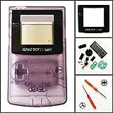 Replacement Full Housing Shell Case Cover for Nintendo Gameboy Color GBC, Transparente, Color Morado