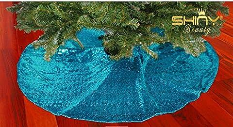 Weihnachten Dekorationen Türkis Weihnachtsbaum Rock Pailletten Stoff Weihnachtsbaum Dekoration unten Decoration(125cm)