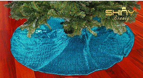 Albero Di Natale Con Decorazioni Blu : Shinybeauty in round aqua blu albero di natale gonna in vimini