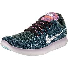 Nike Damen Gratis RN Flyknit Schwarz/Weiß Leuchtend Mango Laufschuhe UK 4.5 EU 38 US 7