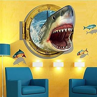 Aliciashouse 3D 60x90cm DIY Shark Porthole Mural Decal Sea Cruise Wall Art Sticker Home Nursery Decor