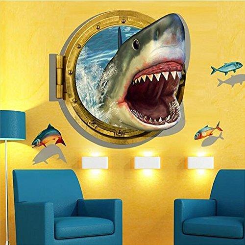 Bluelover 3D 60X90Cm Diy Shark Bullauge Wandbild Aufkleber Meer Kreuzfahrt Wand Kunst Aufkleber Home Kinderzimmer Dekor