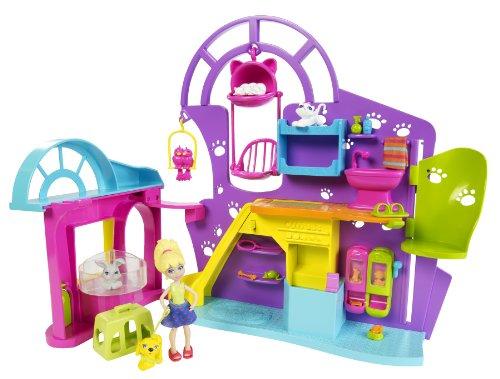 Mattel X4534 - Polly Pocket, Negozio di animali con bambola, animali e molti accessori