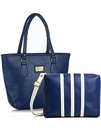 Mammon Women's Handbags and sling bag combo (Blue) (Blue)