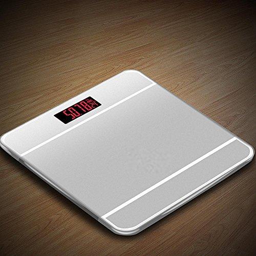 Personenwaage Bewertung (HT Glaswaagen Sehr genau Badezimmer schlankem Design Schlank Gewicht Fett Zahlen Elektronisch Digitale Gesund Gehärtetes Glas Der Bildschirm wird automatisch ein- / ausgeschaltet , Silver , 28cm*28cm*2.5cm)