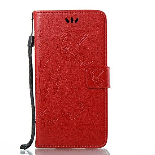 Solid Color Faux Leder Bookstyle Brieftasche Stand Case mit geprägten Blumen & Lanyard & Card Slots für LG G6 ( Color : Coffee ) Red