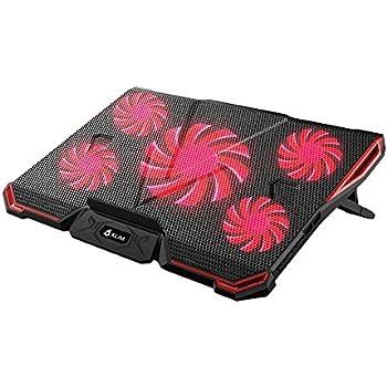 KLIM CYCLONE - Refroidisseur PC Portable - Refroidissement Maximal - 5 Ventilateurs - Support Ventilé pour Ordinateur - Gamer Gaming - (Rouge)