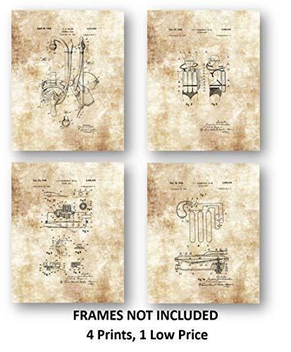 Sauerstoff Sammlung (Ramini Brands Tauchgerät und Schwimmmaske Zeichnen Set mit 4 Stück 8 x 10 ungerahmten Patentdrucken, tolles Geschenk für Trainer und Taucher)