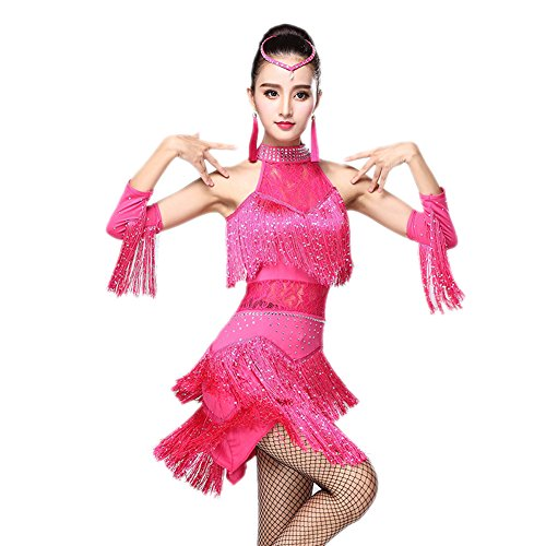 Honeystore 2017 Neuheiten Damen Quasten Swing Rhythmus Jazz Latein Dance Kleid Fuchsie XL