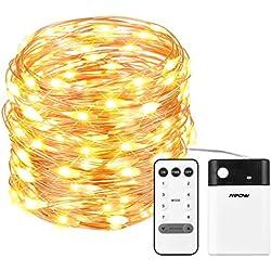 Mpow 100 LEDs Lichterketten, Batterienbetrieben Warm oder Kaltweiß 8 Modi Einstellbar, Dimmbar mit Fernbedienung, Niederspannung, Dekorative Lichter Weihnachtsdeko für Schlafzimmer, Partys