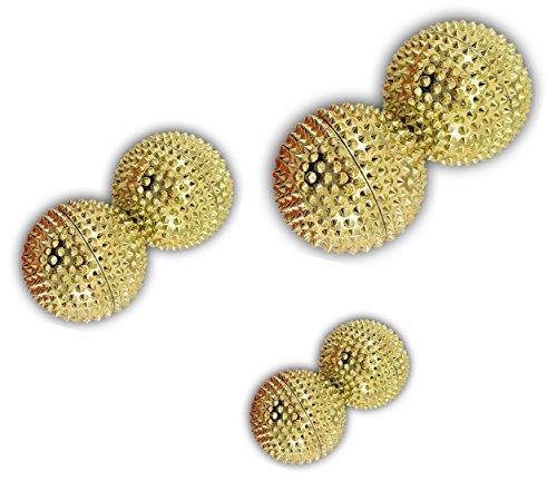 Magnet Akupunktur Massage Kugeln | 3x2er Sets | ca. 32mm Ø, 45mm Ø, 55mm Ø (Gold | 32mmØ,45mmØ,55mmØ)
