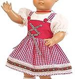 Schildkröt Puppenkleid, rot-weisses Dirndl für 46 cm große Klassikpuppen