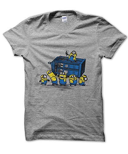 Minions At The Tardis Grey Tshirt for Men - Large