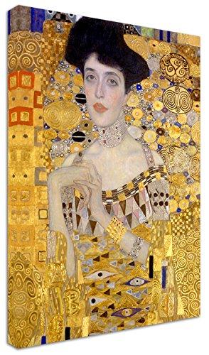 Punto Digital Klimt Ritratto di Adele Quadro cm.70x100 Donna Oro Intelaiato Stampa su Tela Cotone Telaio in Legno Spessore cm.2