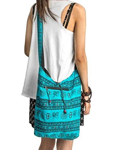 Tribe Azure Fair Trade Cross Baumwollbeutel für Frauen Einheitsgröße Türkisblau (Slouch Frauen Für Handtaschen)