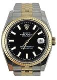 Perpetual Rolex bastone nero orologio quadrante braccialetto Giubileo SS & gold
