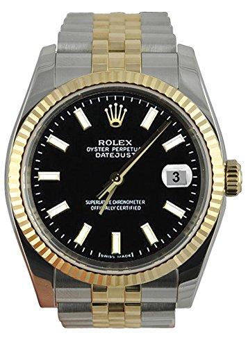 Perpetual Rolex schwarzen Stock Vorwahlknopfmattuhr Jubiläumsarmband SS & Gold
