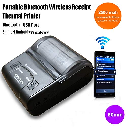 OVIO Portable Wireless Bluetooth Thermal Printer Compatible with ESC/POS print Commands for Windows, Android and iOS (Black, 80 mm)