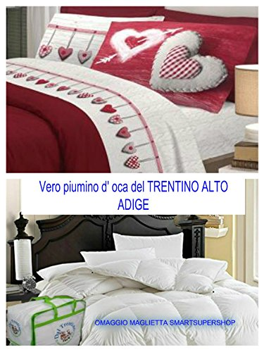 Black Friday Angebot für wenige Tage. Das echte Daunen D 'Gänse des Trentino Doppelbett Made in Italy cirano Haus von smartsupershop + Bettbezug Doppelbett hängende Herzen rote -