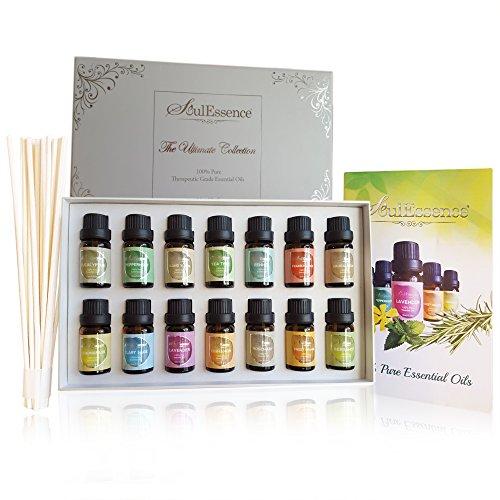 Soulessence® apos;Ultimate Collection' ätherischen Ölen Set Starter Pack (14Flaschen)–Pure Therapeutische Grade Aromatherapie Massage Öle, Bonus Rattanstäbchen, 10ml pro Flasche