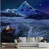 Guyuell Personalizzato 3D Murale Dreamland Starry Dream Forest Sfondo Carta Da Parati Murale Carta Da Parati Per Bambini Baby Room Blu-450Cmx300Cm
