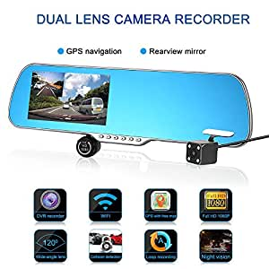 Dual Lens Mirror Camera, LESHP 5 Inch 1080P HD Car Camera, Android GPS Navigation WiFi Car Video Recorder for Vehicles Rearview Mirror+Rearview Camera Parking Monitor