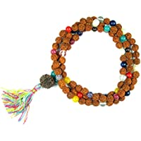Mogul Interior Adult Yoga Spiritual Mala Beads Navgraha Nine Stone Rudraksha Necklace 16 inches Red
