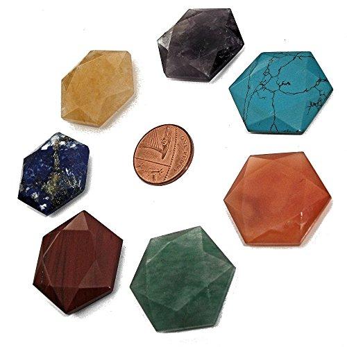Sept Chakra étoiles, Collection de 7 étoiles de pierres semi précieuses aux couleurs des chakras principaux, avec pochette, pour l'équilibrage de l'énergie, Reiki, et la guérison avec les cristaux