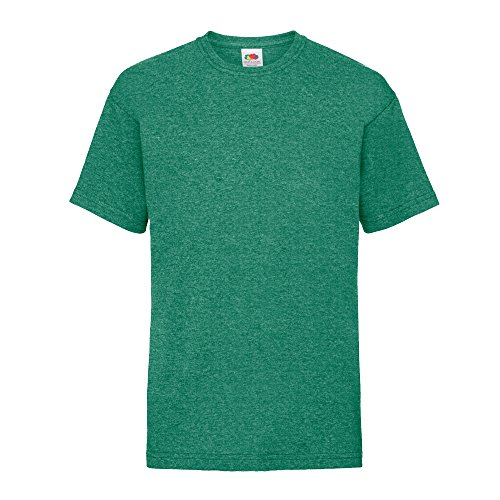 Fruit of the Loom Kinder T-Shirt Valueweight T Kids 61-033-0 Retro Heather Green 152 (12-13) - Mädchen Graphic T-shirt