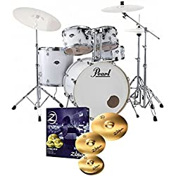 Pearl Export EXX725S Drum Kit Arctic White Sparkle & Zildjian Planet Z Cymbals