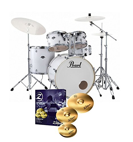 pearl-export-exx725s-drum-kit-arctic-white-sparkle-zildjian-planet-z-cymbals