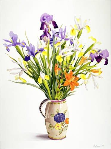 Posterlounge Alu Dibond 30 x 40 cm: Irises and Lilies in a Dutch Jug von Christopher Ryland/Bridgeman Images (Jug Dutch)