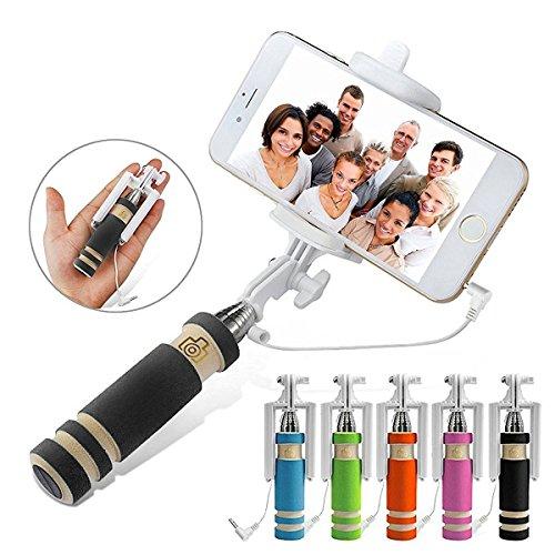 FashionBazaar Presents Compact Pocket Size Mini Selfie Stick with Aux cable for Apple Iphone/Samsung/Oppo/Vivo/Lenovo, Windows Phone & fit for all smart phones No bluetooth & No charging required.  available at amazon for Rs.149