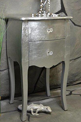Livitat® Kommode mit 2 Schubladen Pomp barock antik pompös Landhaus (Silber) 2012 (Stoff Schubladen Designer)